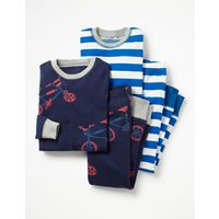 Twin Pack Long John Pyjamas Navy Boys Boden, Navy