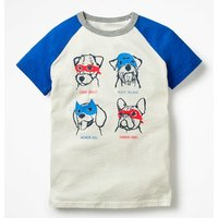 Animal Raglan T-shirt Ivory Boys Boden, Beige