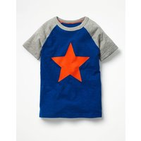 Summer Raglan T-shirt Blue Boys Boden, Blue