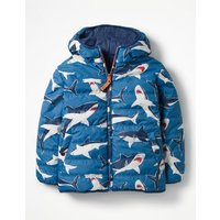 Reversible Fun Puffer Jacket Blue Boys Boden, Blue