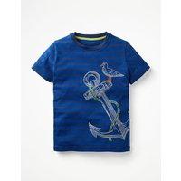Stripy Embroidered T-shirt Blue Boys Boden, Blue