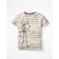 Stripy Embroidered T-shirt Grey Boys Boden, Grey