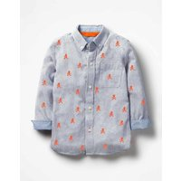 Embroidered Oxford Shirt Orange Boys Boden, Orange