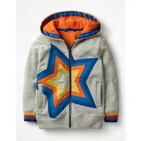Starry Zip-up Hoodie Grey Boys Boden, Grey