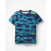 Printed T-shirt Blue Boys Boden, Blue