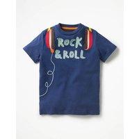 Rock Star Appliqu T-shirt Blue Boys Boden, Blue