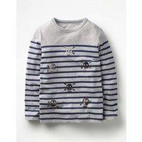 Fun Breton T-shirt Grey Boys Boden, Grey