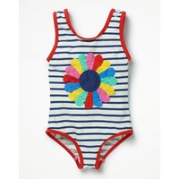 Fun Detail Swimsuit Navy Girls Boden, Navy