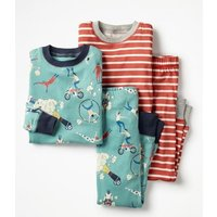 Twin Pack Long John Pyjamas Blue Boys Boden, Blue