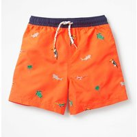 Deep Sea Embroidered Bathers Orange Boys Boden, Orange