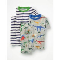 Twin Pack Short John Pyjamas Grey Boys Boden, Grey