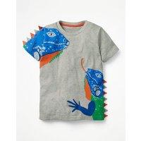 3D Animal T-shirt Grey Boys Boden, Grey