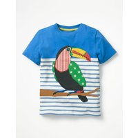 Stripy Applique T-shirt Blue Boys Boden, Blue