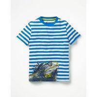 Arty Graphic T-shirt Blue Boys Boden, Blue