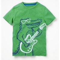 Arty Graphic T-shirt Green Boys Boden, Green
