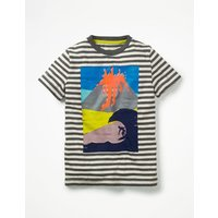 Arty Graphic T-shirt Grey Boys Boden, Grey