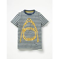 Arty Graphic T-shirt Navy Boys Boden, Blue