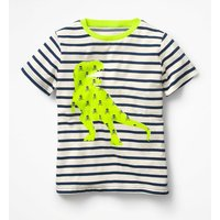 Neon Pop Breton T-shirt Blue Boys Boden, Blue