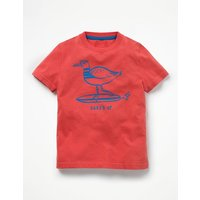 Surf Dude Graphic T-shirt Red Boys Boden, Red