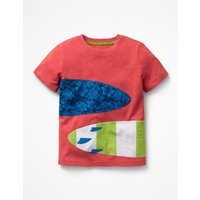 Printed Applique T-shirt Red Boys Boden, Red