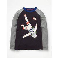 Outer Space Raglan T-shirt Grey Boys Boden, Grey