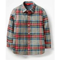 Brushed Check Shirt Grey Boys Boden, Red