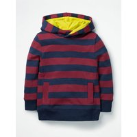 Stripy Hoodie Red Boys Boden, navy