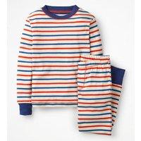 Cosy Stripe Pyjama Ivory Boys Boden, Blue