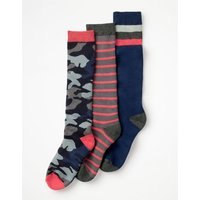 3 Pack Ski Socks Multi Boys Boden, Multicouloured