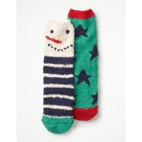 2 Pack Fluffy Socks Blue Boys Boden, Blue