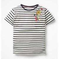 Johnnie B Pocket Appliqué T-shirt Navy Girls Boden, Navy