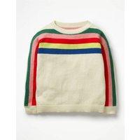 Rainbow Stripe Jumper Ivory Girls Boden, Ivory