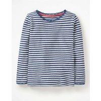Supersoft Pointelle T-shirt Navy Girls Boden, Navy