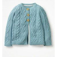Cosy Cable Cardigan Blue Girls Boden, Blue