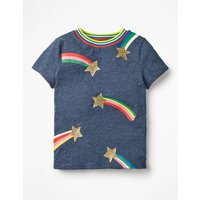 Time To Shine T-shirt Navy Girls Boden, Navy