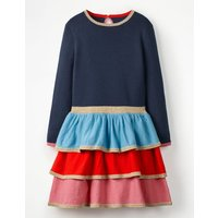 Tiered Knitted Dress Navy Girls Boden, Navy
