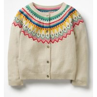 Fair Isle Cardigan Ivory Girls Boden, Ivory