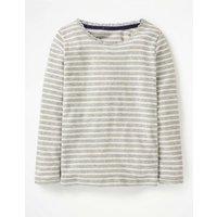 Sparkly Pointelle T-shirt Grey Girls Boden, Grey