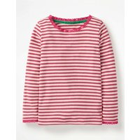 Sparkly Pointelle T-shirt Pink Girls Boden, Gold pink