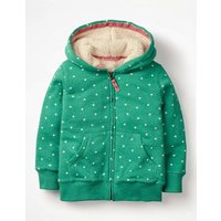Printed Shaggy-lined Hoodie Green Girls Boden, Green