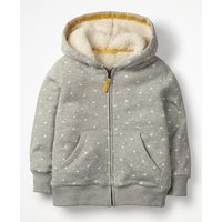 Printed Shaggy-lined Hoodie Grey Girls Boden, Grey