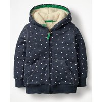 Printed Shaggy-lined Hoodie Navy Girls Boden, Navy