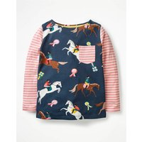 Hotchpotch Pocket T-shirt Navy Girls Boden, Navy