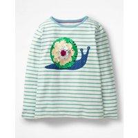 Colour-change Sequin T-shirt Blue Girls Boden, Blue
