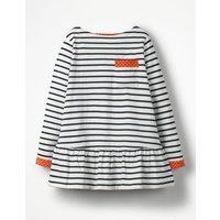 Stripy Pocket Tunic Navy Girls Boden, Navy