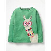 Animal Appliqué T-shirt Green Girls Boden, Green