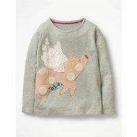 Animal Appliqué T-shirt Grey Girls Boden, Grey