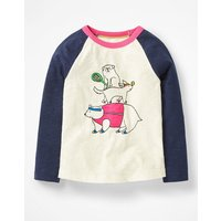 Fun Raglan T-shirt Ivory Girls Boden, Ivory