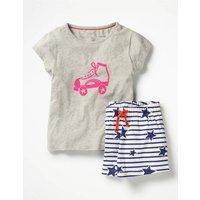 Johnnie B Shortie Pyjama Set Grey Girls Boden, Grey