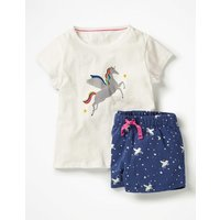Shortie Pyjama Set Ivory Girls Boden, Ivory